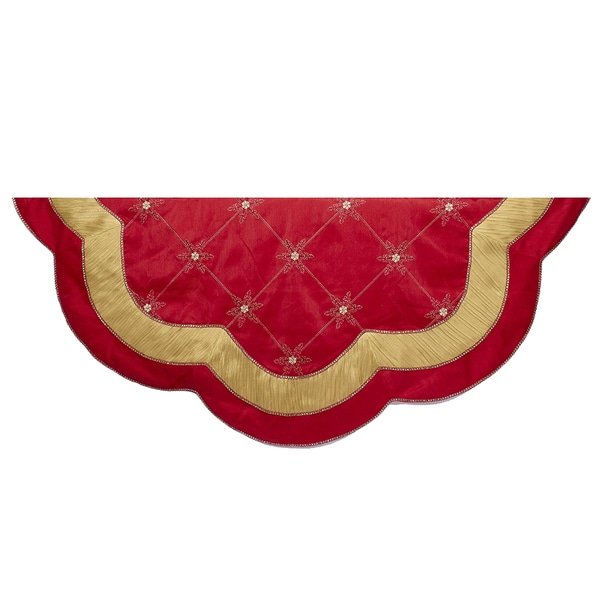 Kurt Adler 54-Inch Red and Gold Scalloped Embellished Treeskirt