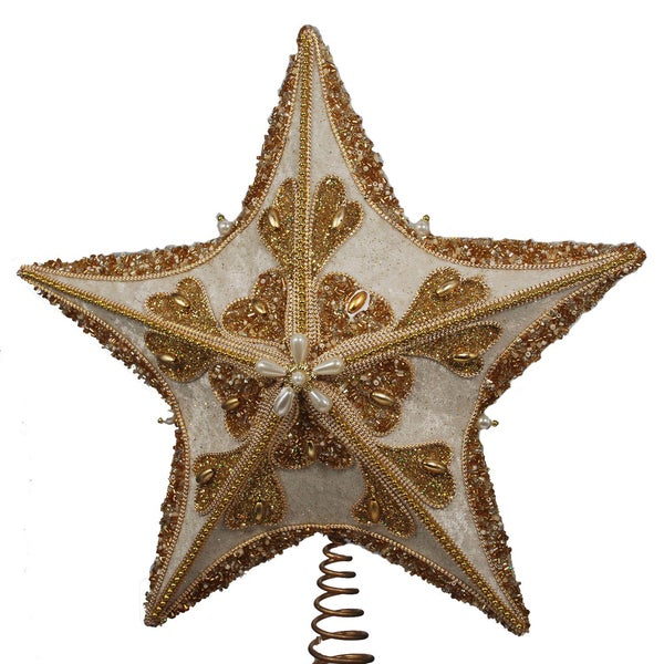 Kurt Adler 13.5-Inch Fabric Ivory and Gold Glitter Star Treetop