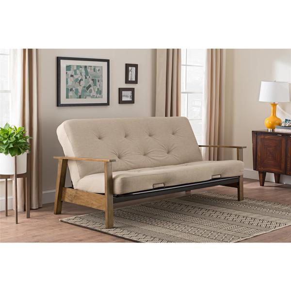 DHP Bergen Wood Arm Futon with 6-inch Coil Tan Linen Mattress