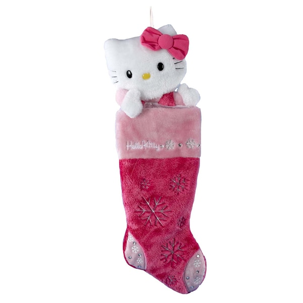 Kurt Adler 22-Inch Hello Kitty Pink Plush Head Stocking