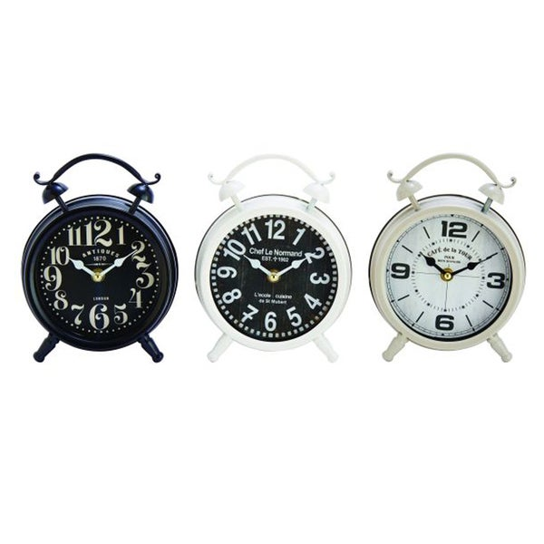 Benzara Outstanding Black, White, and Off-white Metal Table Clocks (Pack of 3)