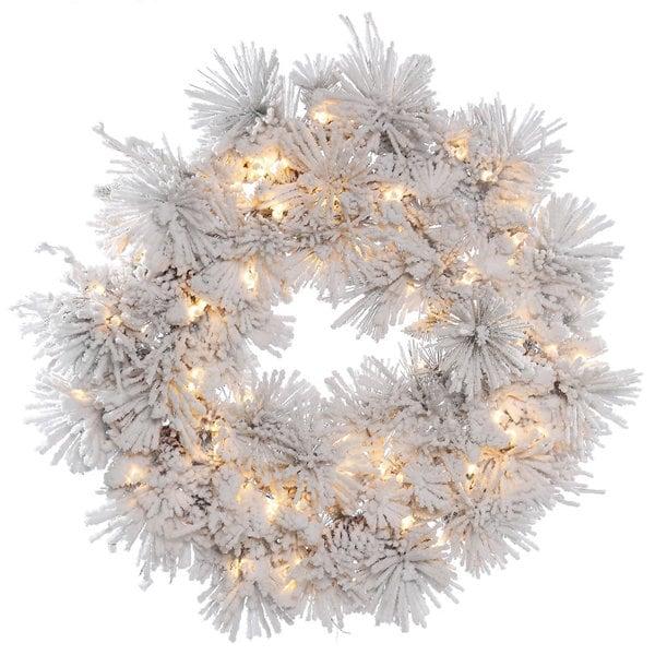 Vickerman White 30-inch Flocked Alberta Wreath