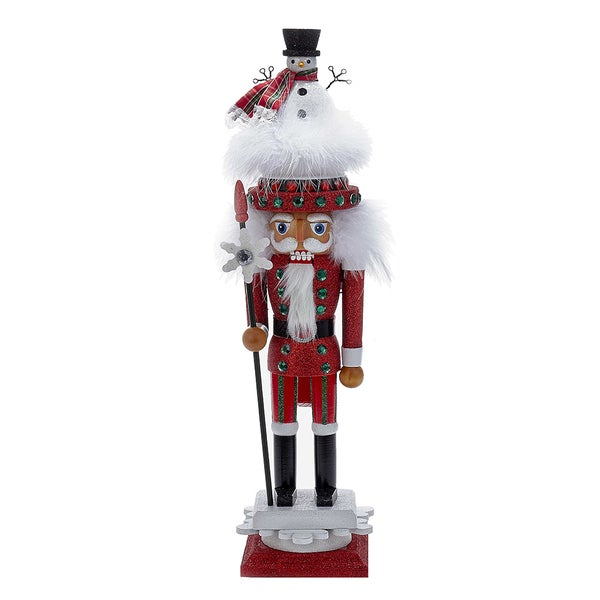 Kurt Adler 18-Inch Hollywood Red Nutcracker with Snowman Hat