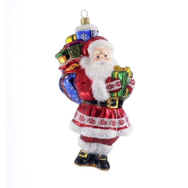 Kurt Adler 7.87-Inch Polonaise Glass Santa Claus Ornament