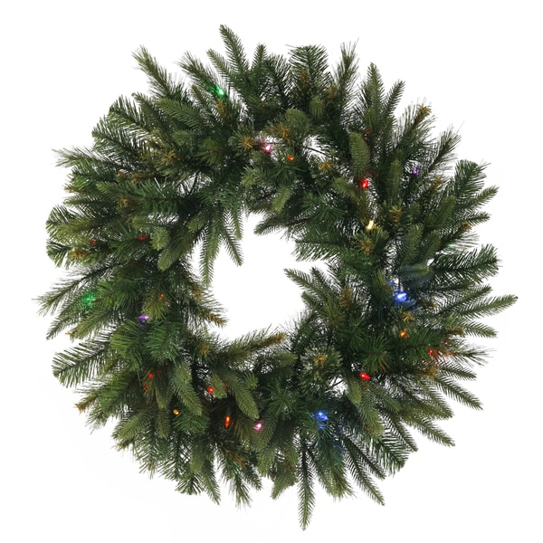 Cashmere 30-inch Wreath with 30 Multi-Colored LED Lights and Battery Operated Timer