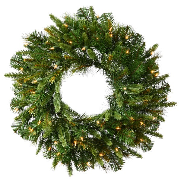 30-inch Cashmere Wreath with 30 Warm White LED Lights and Battery Operated Timer