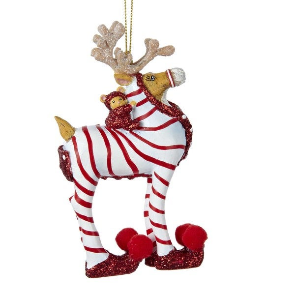 Kurt Adler Resin Red and White Striped Pajamas Reindeer Ornament