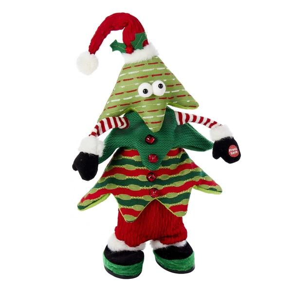 Kurt Adler 16-Inch Battery-Operated Singing and Jumping Plush Christmas Tree
