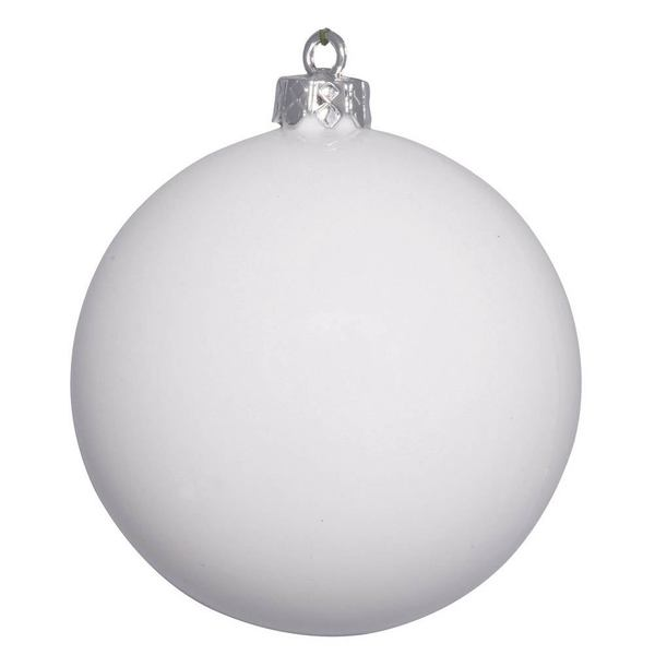 White Plastic 2.4-inches Shiny Ball Ornaments (Case of 60)
