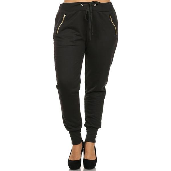 Women's Black Plus-size Cuffed Zipper Pants