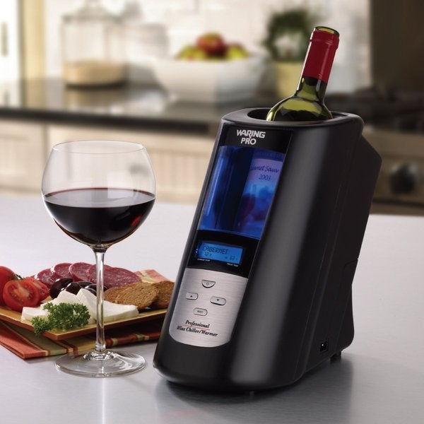 Waring Pro RPC175WS Brushed Stainless Steel Wine Chiller and Warmer, Black