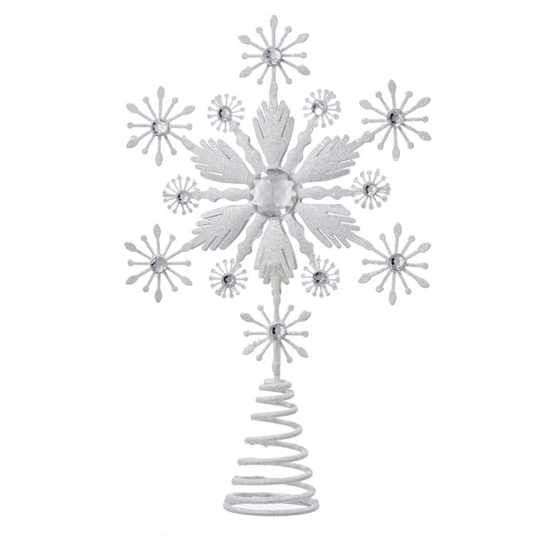 Kurt Adler 12-Inch Metal Snowflake Treetop with White Glitter