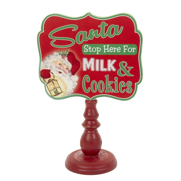 Kurt Adler 9-Inch Wooden Santa Milk and Cookies Sign