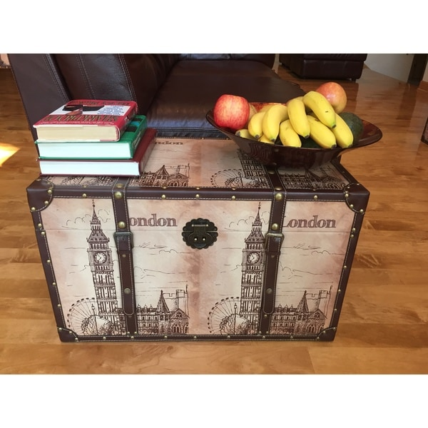 London Bell Wood Medium Decorative Steamer Trunk/Treasure Hope Chest