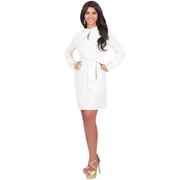 Koh Koh Women's Long Sleeve Knee Length Midi Dress with Belt Medium Size in Off White(As Is Item)