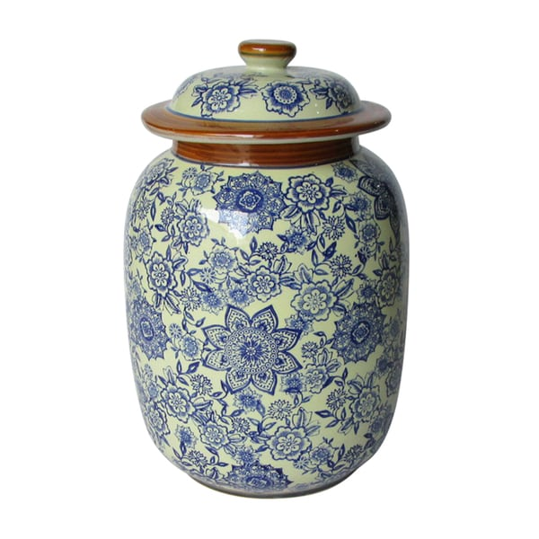 Jeco Blue and White Ceramic Patterned Jar With Lid
