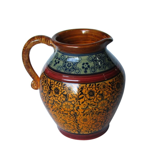 Blue, Red and Yellow Pattern Pitcher