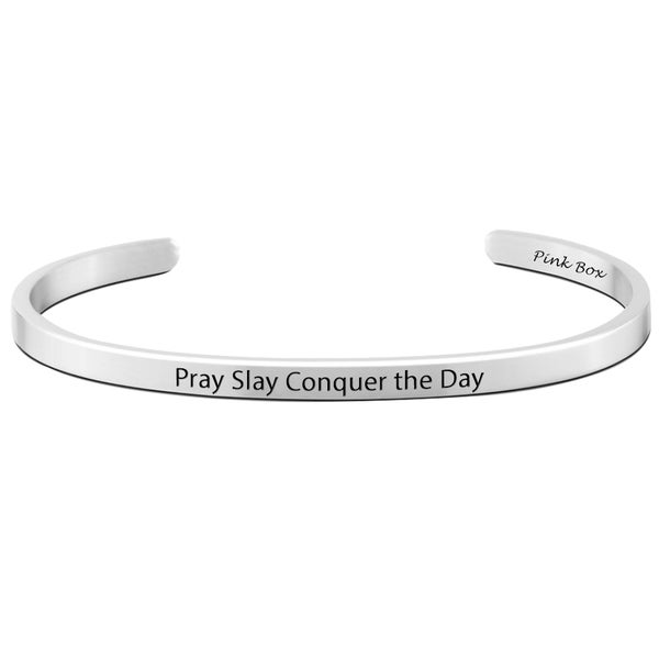 Pink Box 'Pray Slay Conquer the Day' Stainless Steel 5-millimeter Cuff Bracelet