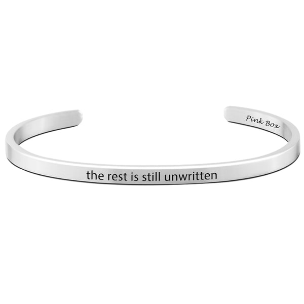 Pink Box Stainless Steel 'The Rest Is Still Unwritten' Cuff Bracelet