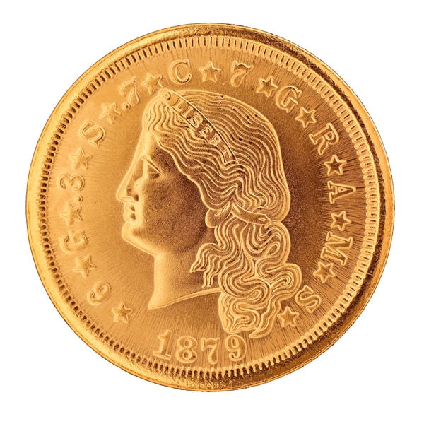 Flowing Hair $4 Gold Piece 1879-1880 Replica Coin