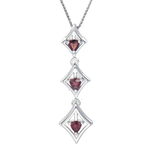 Sterling-silver 0.4-carat Garnet Trillion-cut 3-stone Pendant With Chain
