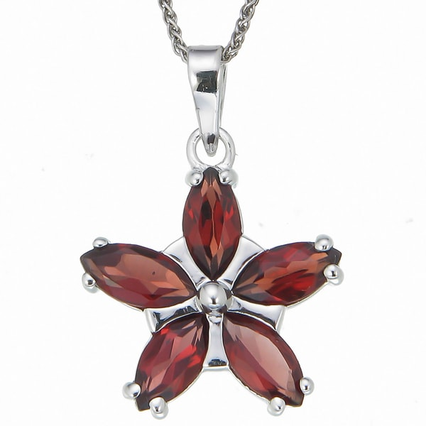 Sterling Silver Red Garnet Flower Pendant Necklace