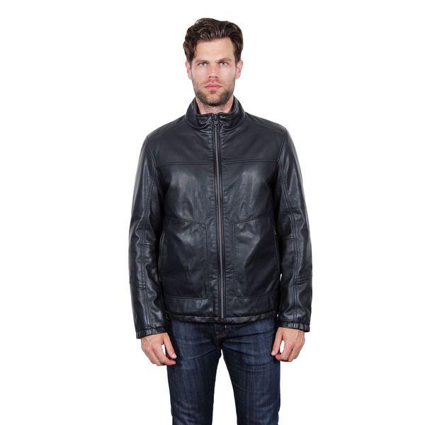 Tahari Black Faux Leather Bomber Jacket