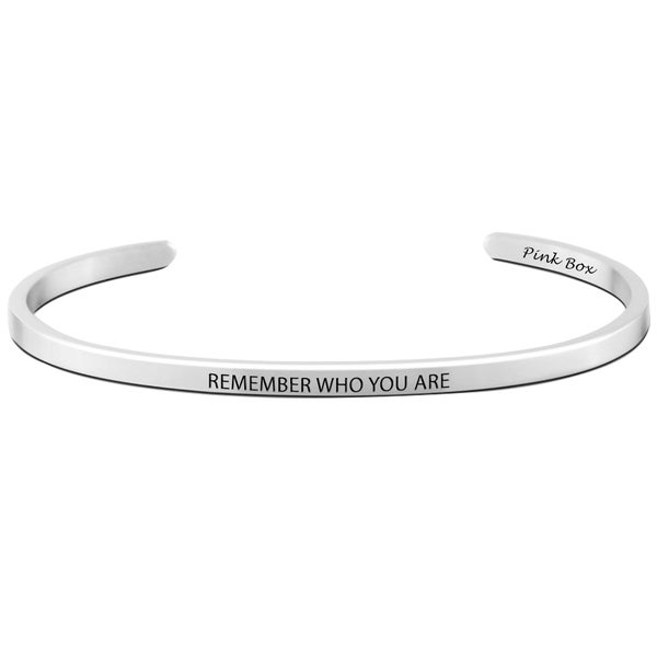 Pink Box Stainless Steel 'Remember Who You Are' Cuff Bracelet