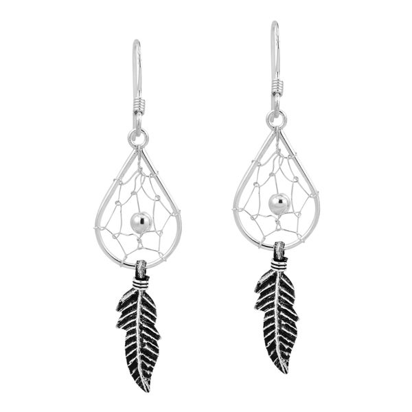 Native American Teardrop Dream Catcher .925 Silver Earrings (Thailand)