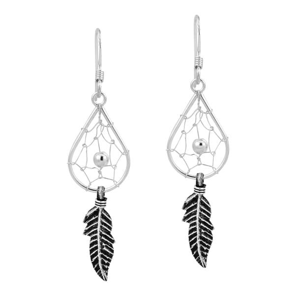 Native American Teardrop Dream Catcher .925 Silver Earrings (Thailand)