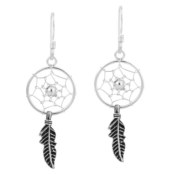 Native American Dream Catcher .925 Silver Dangle Earrings (Thailand)