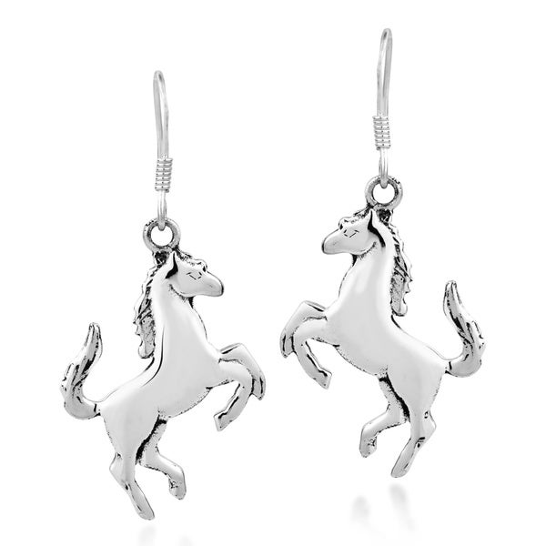 Prancing Equine Horse Sterling Silver Dangle Earrings (Thailand)