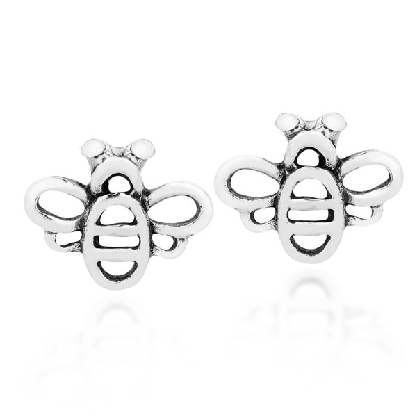 Adorable Mini Honey Bee Sterling Silver Stud Earrings (Thailand)