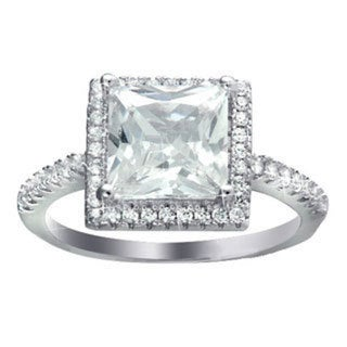 Sterling Silver and Rhodium-plated Cubic Zirconia 2-piece Princess-cut Engagement Ring Wedding Band Set