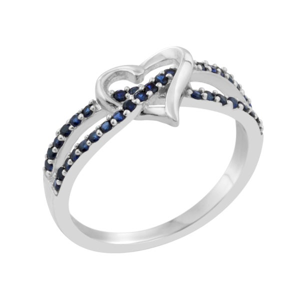 Sterling Silver Rhodium-plated Created Blue Sapphire Heart Ring