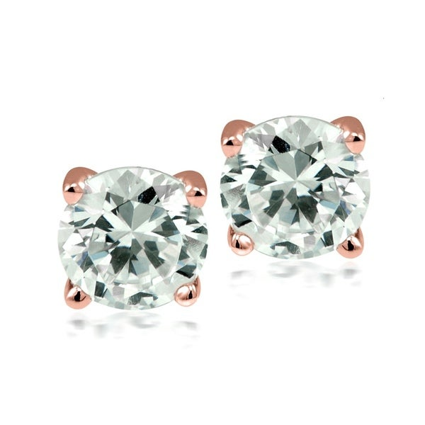 Stainless Steel Rose Gold Plated Swarovski Elements Stud Earrings