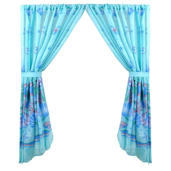 Scenic Ocean Print Blue Fabric 34-inch x 54-inch Water-resistant Bathroom Window Curtain Set With Holdbacks