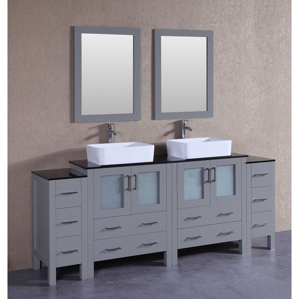 Bosconi 84-inch Grey Double Vanity Set with Black Tempered Glass Tops, Mirrors, and Faucets 21535271