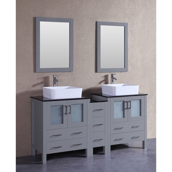 Bosconi 72-inch Grey Double Vanity Set with Black Tempered Glass Tops, Mirrors, and Faucets 21535273