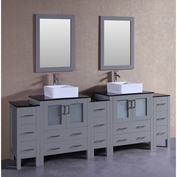 Bosconi 96-inch Grey Double Vanity Set with Black Tempered Glass Tops, Mirrors, and Faucets 21535362