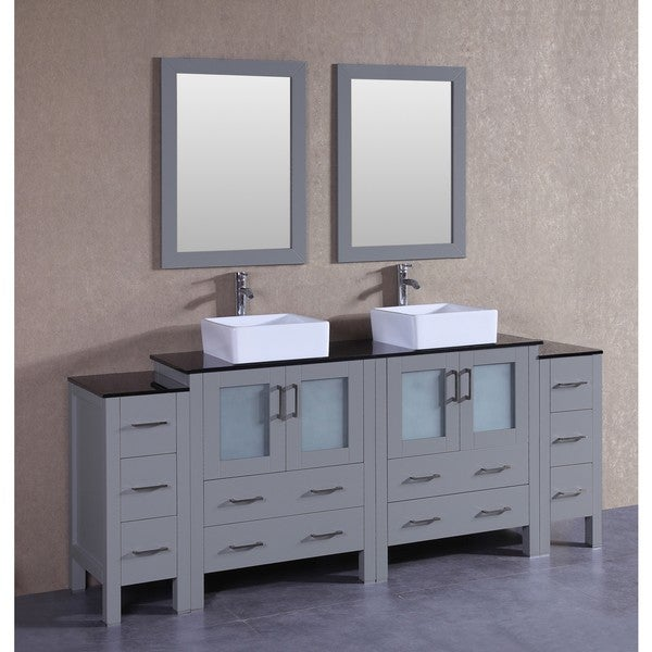 Bosconi 84-inch Grey Double Vanity Set with Black Tempered Glass Tops, Mirrors, and Faucets 21535364