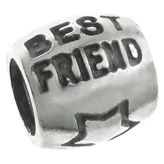 Queenberry Sterling Silver BEST FRIEND Focal Bead European Bead Charm