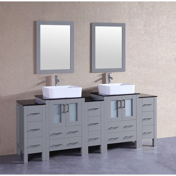 Bosconi 84-inch Grey Double Vanity Set with Black Tempered Glass Tops, Mirrors, and Faucets 21535449