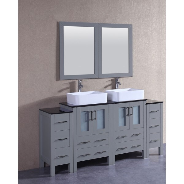 Bosconi 72-inch Grey Double Vanity Set with Black Tempered Glass Tops, Mirrors, and Faucets 21535450