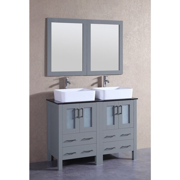Bosconi 48-inch Grey Double Vanity Set with Black Tempered Glass Tops, Mirrors, and Faucets 21535452