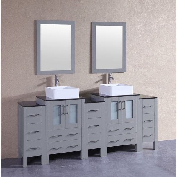 Bosconi 84-inch Grey Double Vanity Set with Black Tempered Glass Tops, Mirrors, and Faucets 21535489