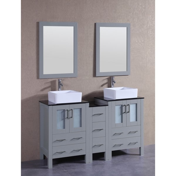 Bosconi 60-inch Grey Double Vanity Set with Black Tempered Glass Tops, Mirrors, and Faucets 21535491