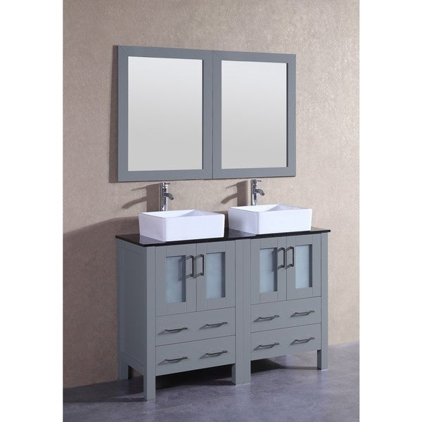 Bosconi AGR224CBEBG 48-inch Grey Double Vanity Set with Black Tempered Glass Tops, Mirrors and Faucets 21535492