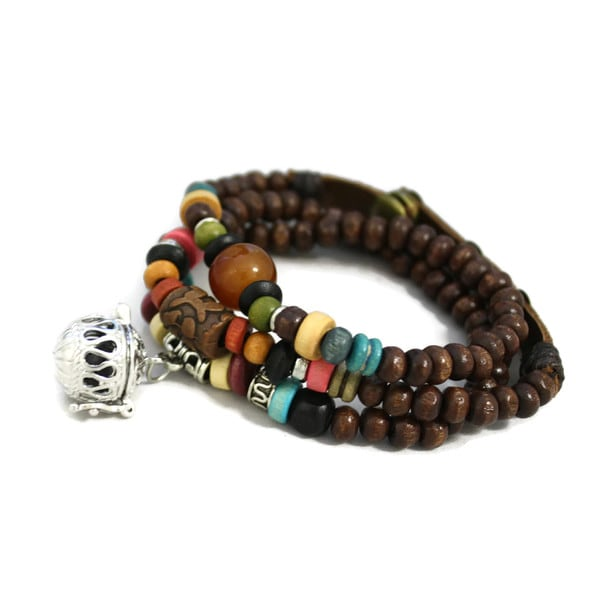 """Tribal"" Dark Brown Triple Wrap Essential Oil Aromatherapy Diffuser Bracelet/ Necklace"