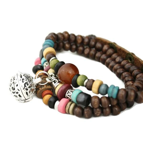 Tribal Dark Brown Triple Wrap Essential Oil Aromatherapy Diffuser Bracelet/ Necklace